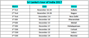 India Vs Sri Lanka Tour Test Match SCHEDULE