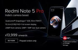 Xiaomi mi Note 5 Specifications